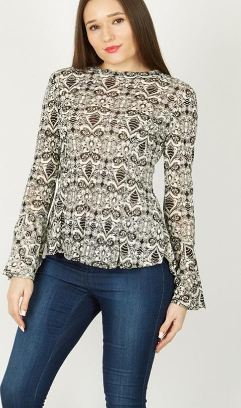 7f58d2624e967 Black Long Sleeve Abstract Print Peplum Top. Follow izabel london Follow  debenhams