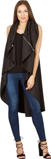 Black Oversize Collar Waterfall Cardigan