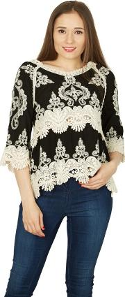 Black Scallop Trim Victorian Style Blouse Top