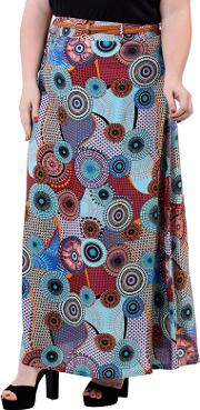 Blue Plus Size Kaleidoscope Maxi Skirt