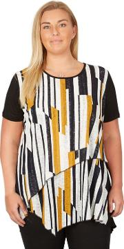 Multicoloured Plus Size Abstract Print T Shirt Top