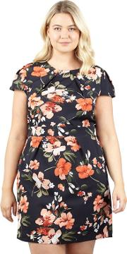 Navy Ditsy Floral Print Dress