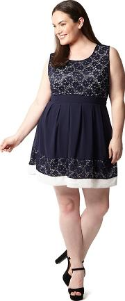 Navy Plus Size Lace Contrast Mini Dress