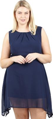 Navy Tie Belted Skater Dress