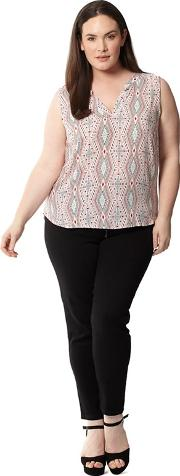Pale Pink Plus Size Sleeveless Printed Blouse