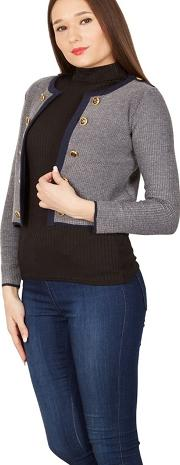 Grey 34 Sleeve Sailor Style Knit Cardigan