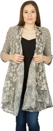 Grey Contrast Floral Print Waterfall Cardigan