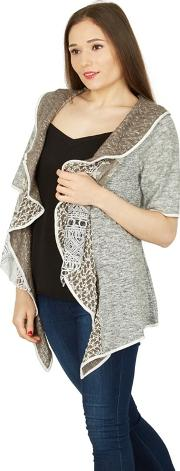 Grey Contrast Print Waterfall Cardigan