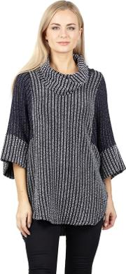 Grey Cowl Neck Knit Pullover