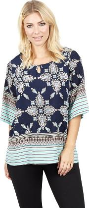 Multicoloured Abstract Print Blouse Top