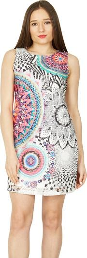 Multicoloured Abstract Print Shift Dress