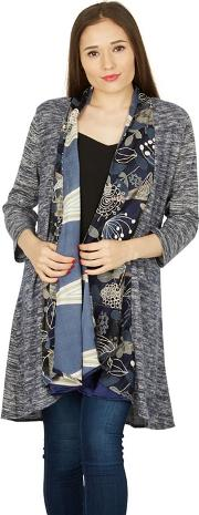 Multicoloured Contrast Print Waterfall Cardigan