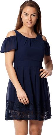 Navy Cold Shoulder Tea Dress
