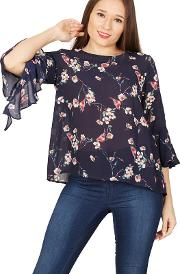 Navy Floral & Bird Print Blouse Top