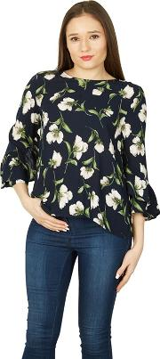 Navy Floral Print Flute Sleeve Blouse Top