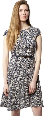 Navy Paisley Print Belted Skater Dress