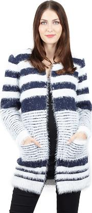 Navy Pocket Front Fur Knitwear Cardigan