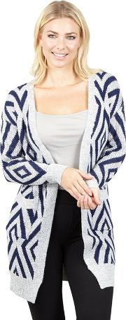 Navy Printed Knit Longline Cardigan