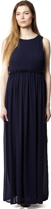 Navy Ruffle Waistline Pleat Maxi Dress