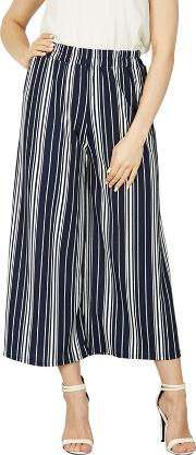 Navy Striped Wide Pants