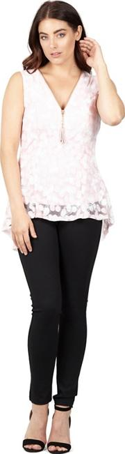 Pink Butterfly Zip Front Fit & Flare Top