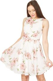 Pink Floral Printed Waisted Dress