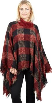 Red Checked Large Poncho