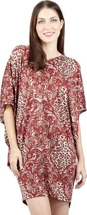 Red Floral Printed Oversize Top