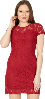 Red Short Sleeved Lace Dress