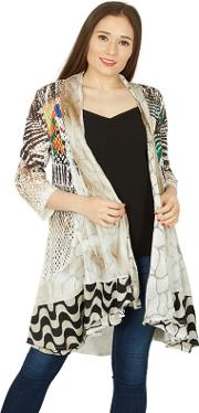 White Contrast Print Waterfall Cardigan