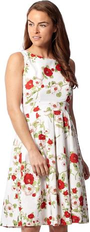 White Floral Sleeveless Fit And Flare Dress