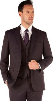 Aubergine Flannel 2 Button Front Tailored Fit Luxury Suit Jacket