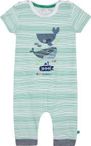 Babies White And Green Striped Whale Print Romper Suit