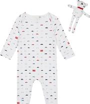 Babies White Transport Sleepsuit And Teddy Bear