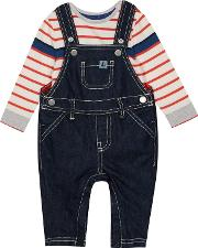 Baby Boys Blue Denim Dungarees And Bodysuit Set
