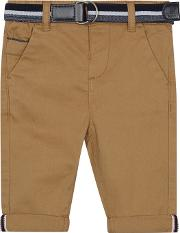 Baby Boys Dark Tan Slim Fit Chino Trousers
