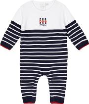Baby Boys Navy Knitted Romper Suit