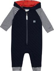 Baby Boys Navy Quilted Romper Suit