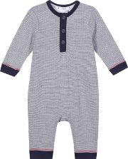 Baby Boys Navy Striped Romper Suit
