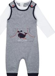 Baby Boys Navy Whale Embroidered Dungarees