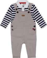 Baby Boys Pale Grey Cord Dungarees And Top Set