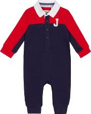 Baby Boys Red Colour Block Romper