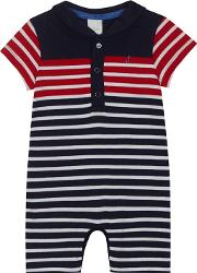 Baby Boys Red Striped Romper Suit