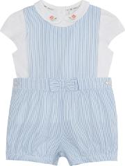 Baby Girls Blue Striped Romper Suit And White Top Set