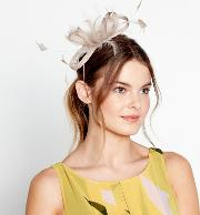 Beige amy Feather Bow Fascinator