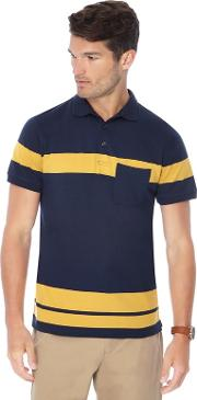 Big And Tall Navy Placement Stripe Slim Fit Polo Shirt
