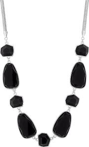 Black Faceted Stone Statement Necklace