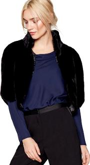 Black Faux Fur Shrug