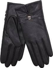 Black Leather Brand Embossed Gloves