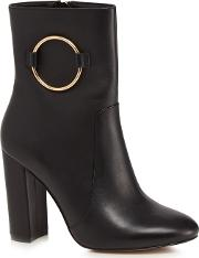 Black Leather jania High Block Heel Ankle Boots